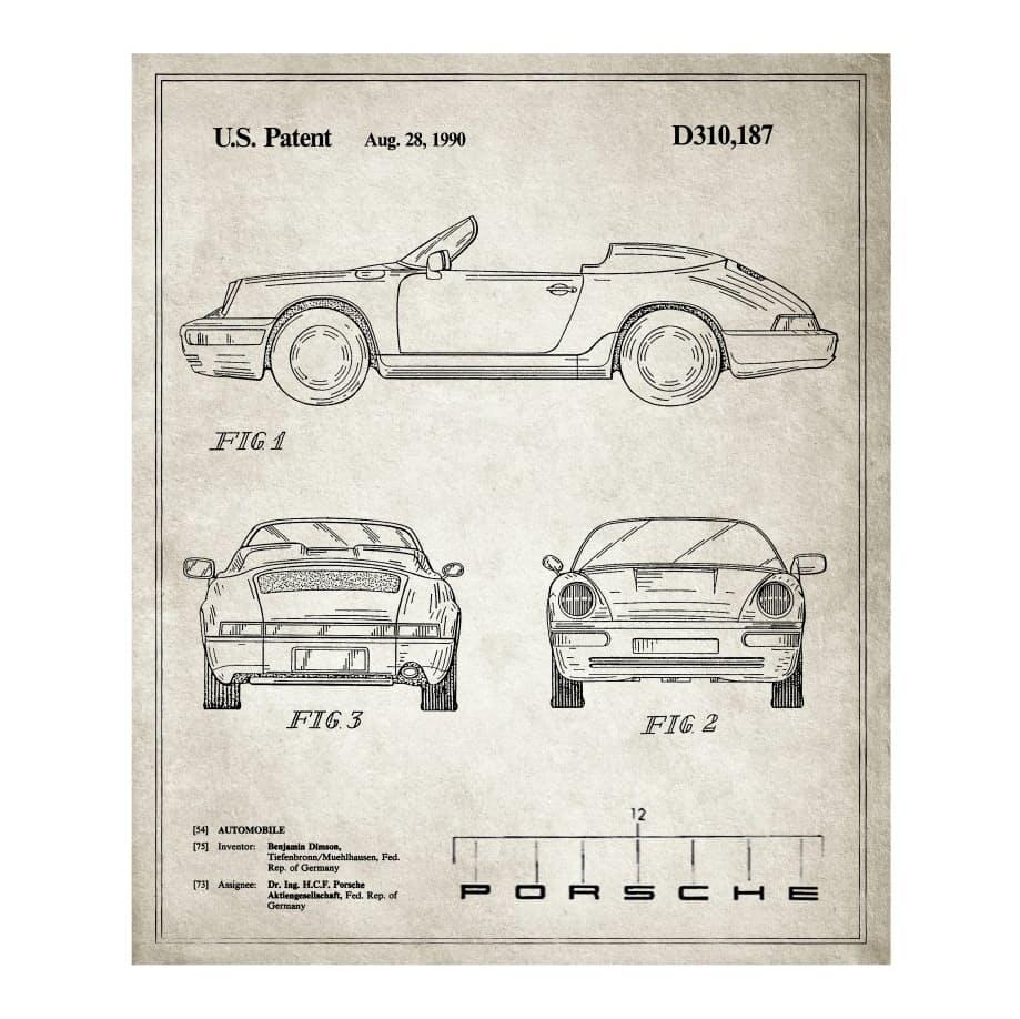 Bgmmovc0sl patent prints porsche 911 1990 0 original