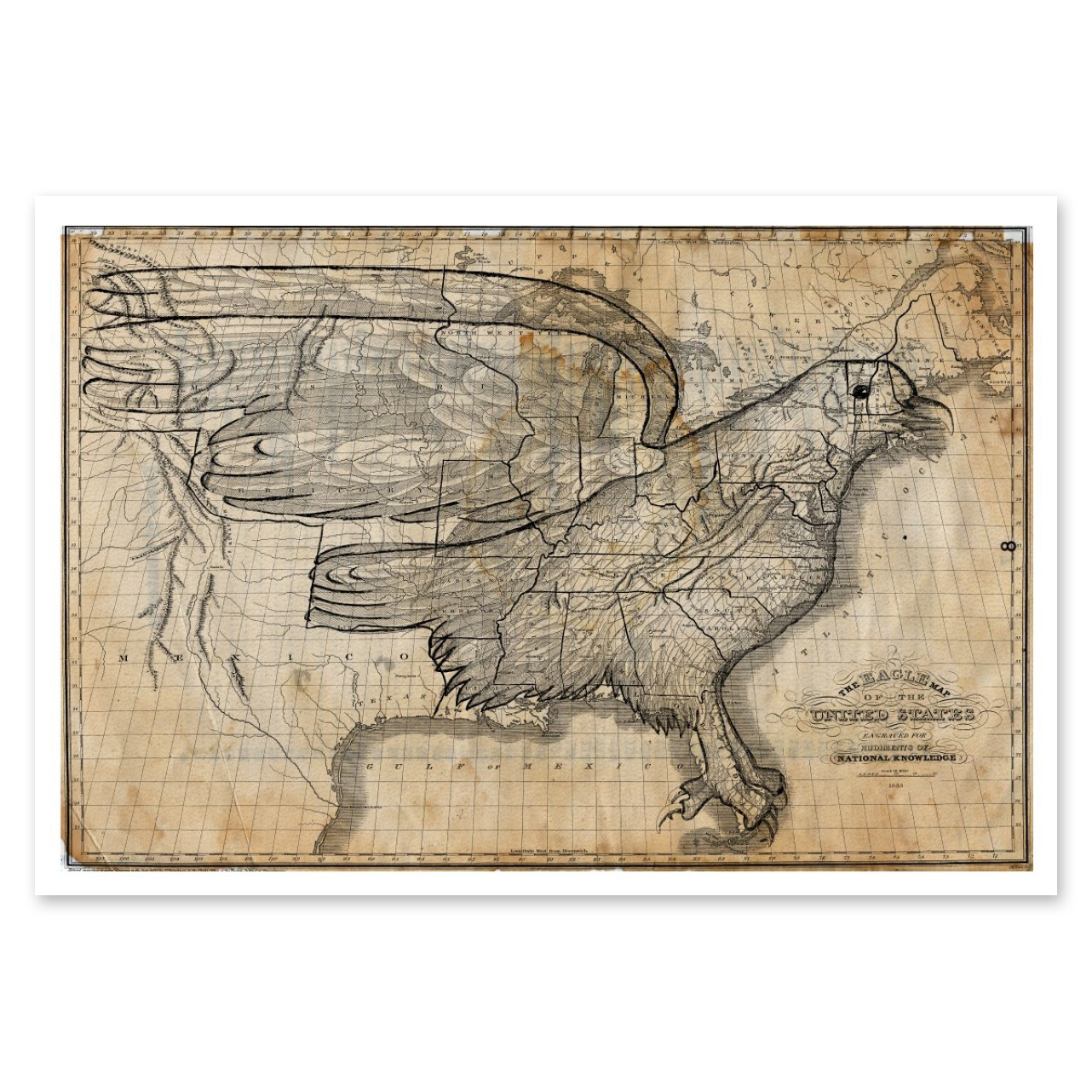 Patent Prints Eagle Map of the US 1833 Huckberry