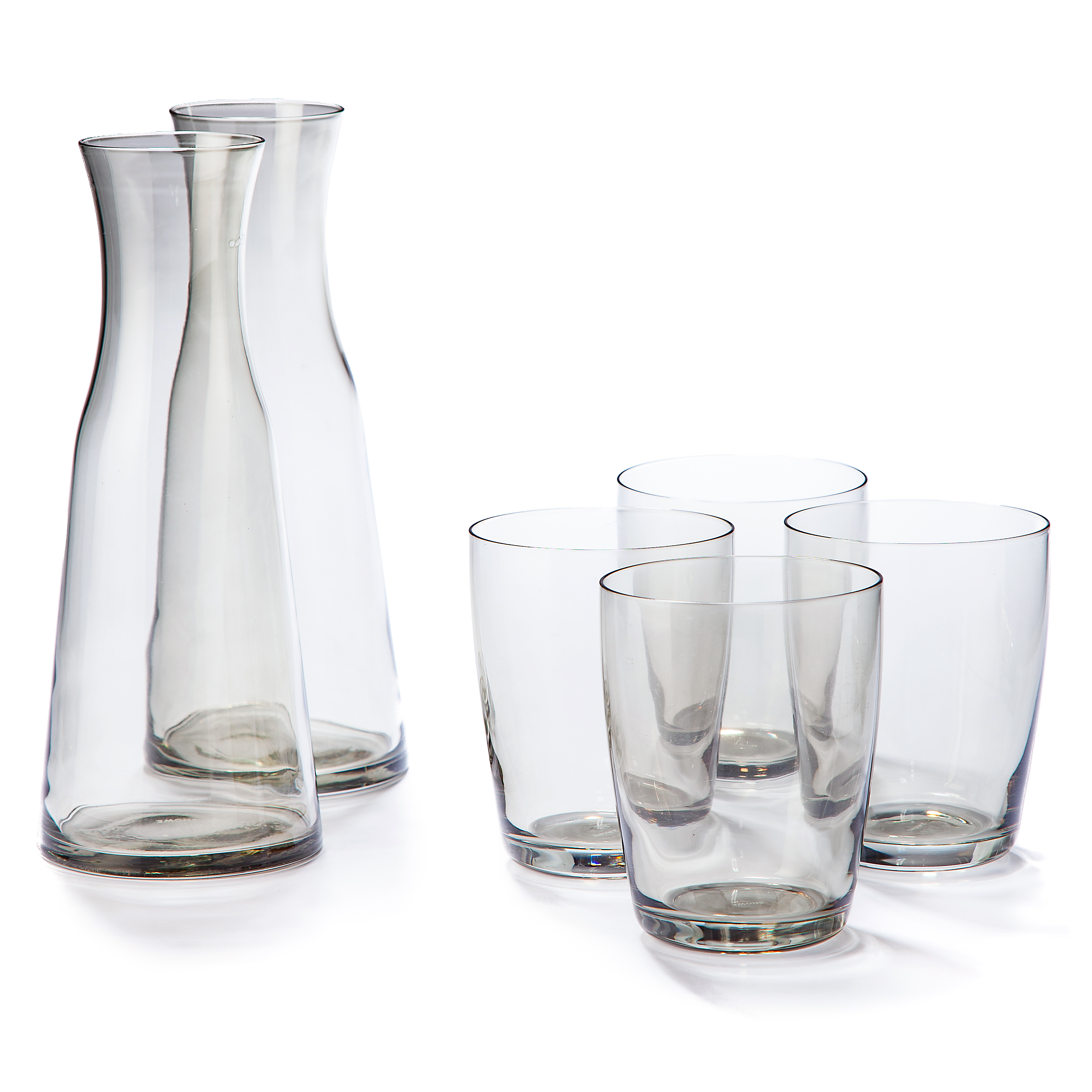 A Carafe That Is A Blind Glass snowe smoke grey glass set + carafes  huckberry