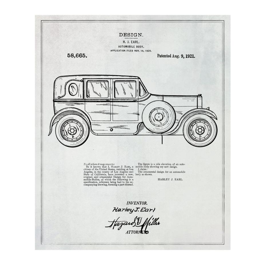 Patent Prints Harley Automobile Body - 1921 | Huckberry