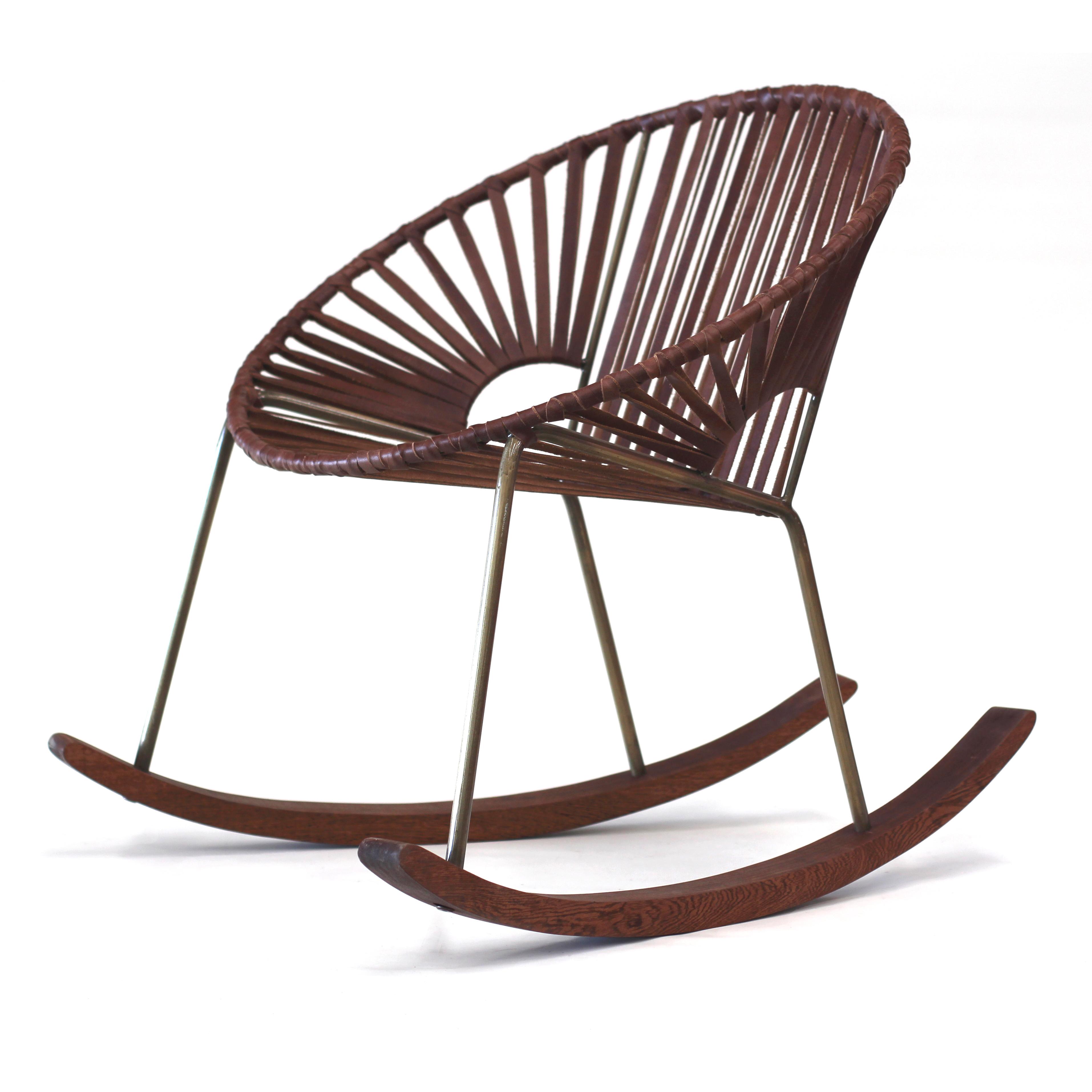 mexa x huckberry ixtapa brass leather rocking chair exclusive