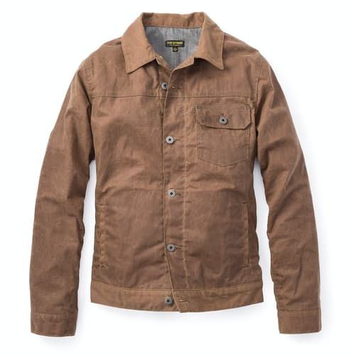 Flint And Tinder Flannel Lined Waxed Trucker Jacket
