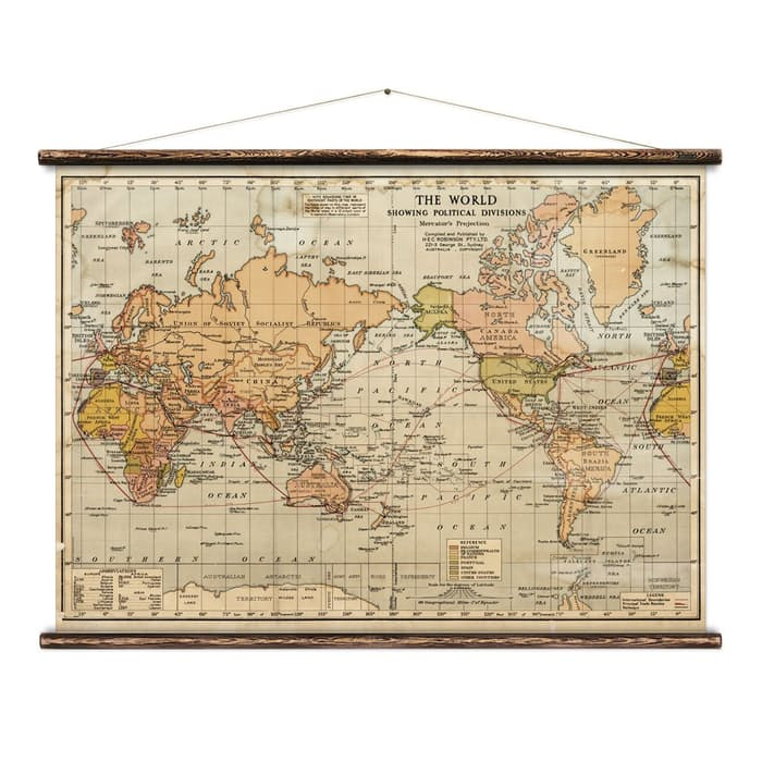 Erstwhile World Political Wall Map Huckberry