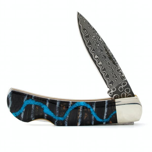 Black Mammoth Tooth + Turquoise Vein Damascus Knife