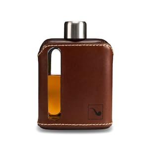 Dark Brown Leather + Glass Flask - 100ml