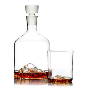 Mountain Decanter + Half Dome Set of 2 Whiskey Glasses