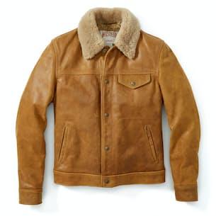 Men's Waxy Vintage Buffalo Trucker Jacket with Sheepskin Collar