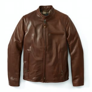 Waxed Natural Pebbled Cowhide Cafe Leather Jacket