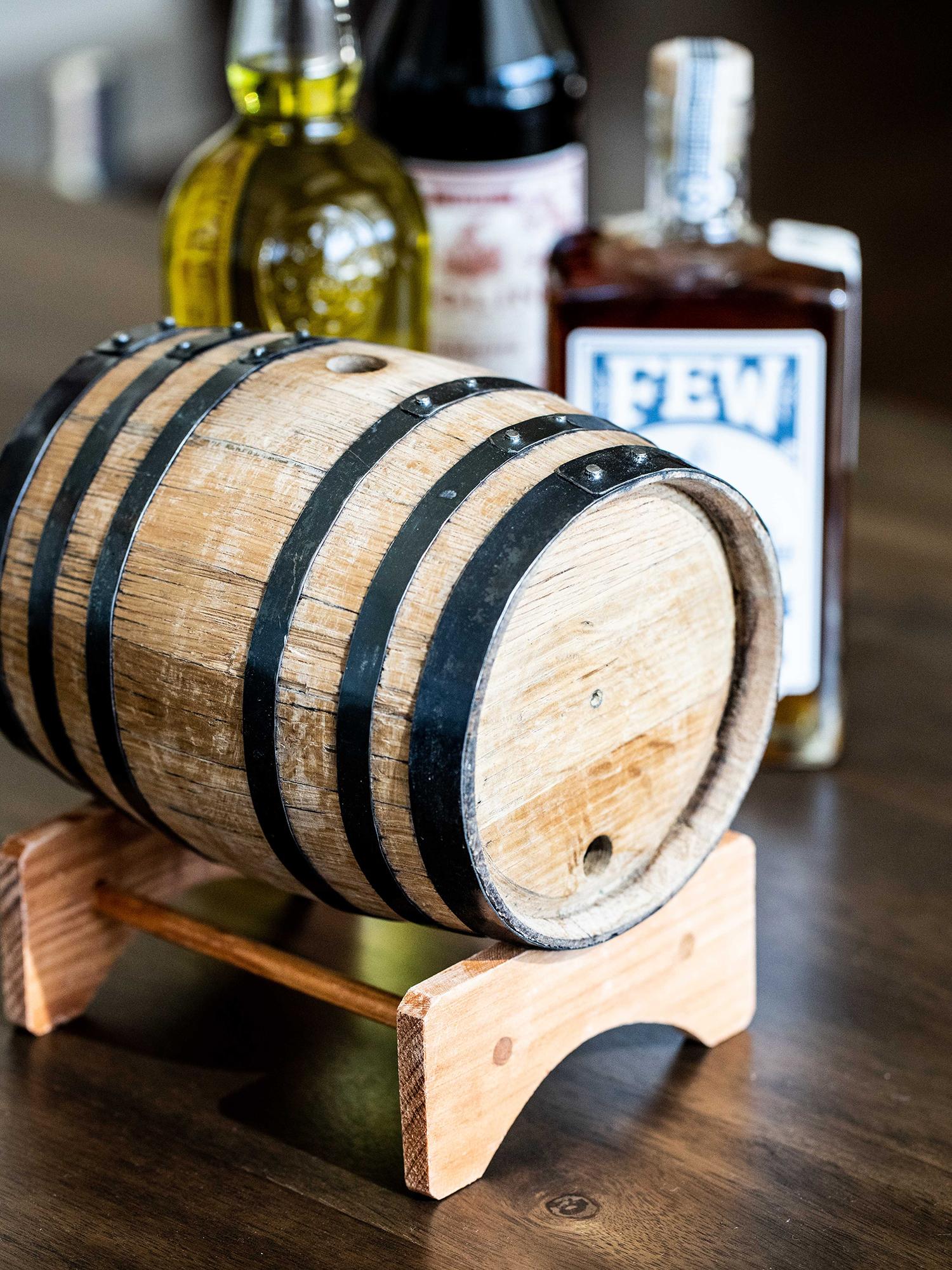Two-liter mini oak barrel for aging cocktails