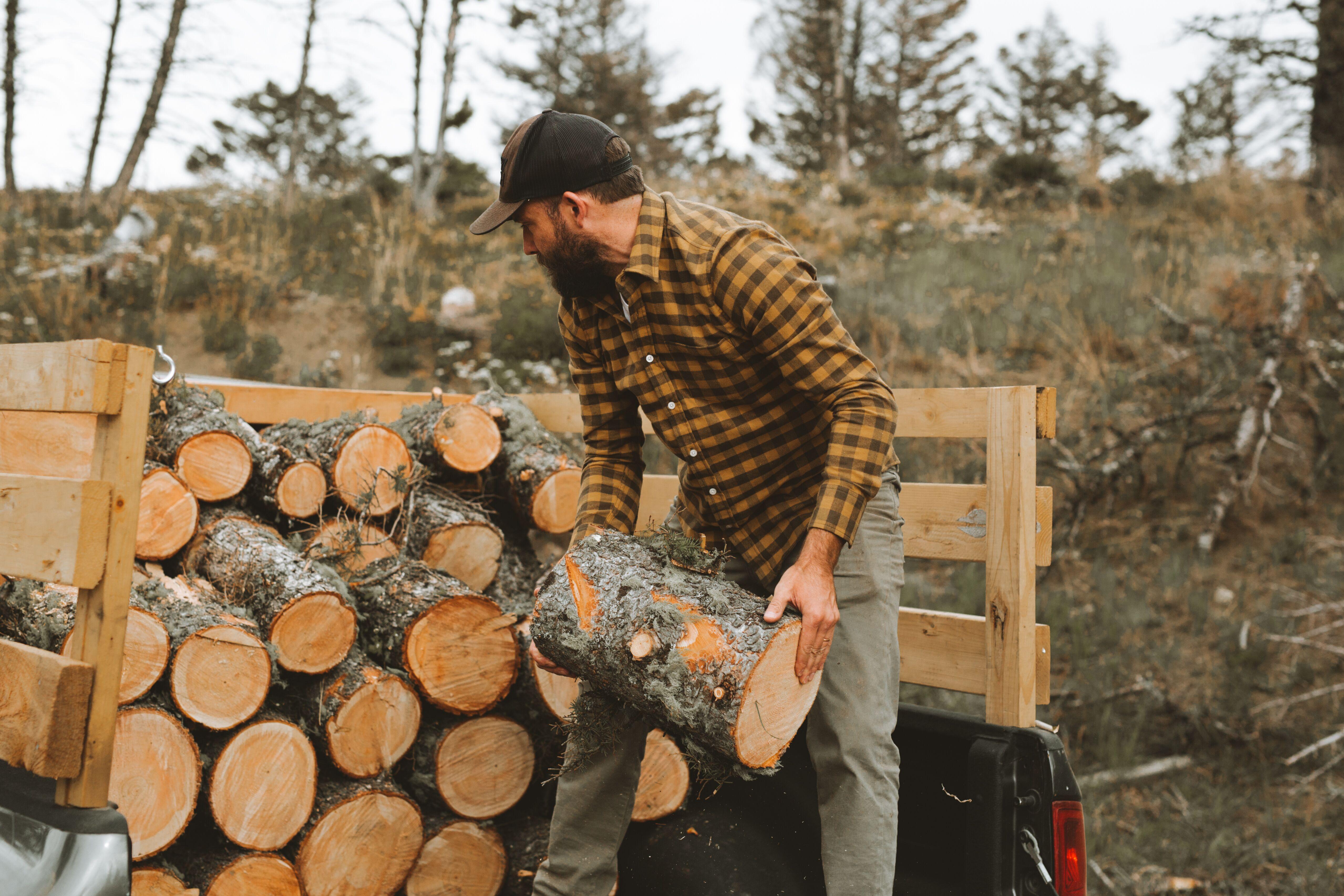 Ben Nobel chopping wood