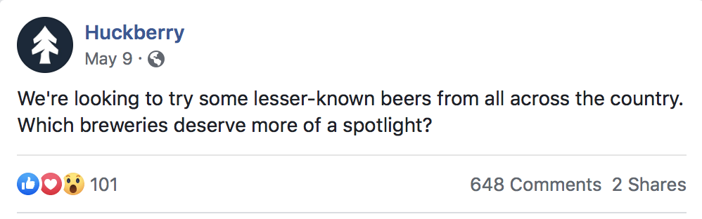 On Facebook alone, we got more than 600 craft brewery recommendations from around the country
