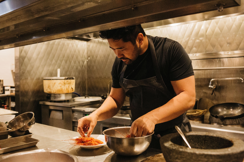 Brandon Jew cooking