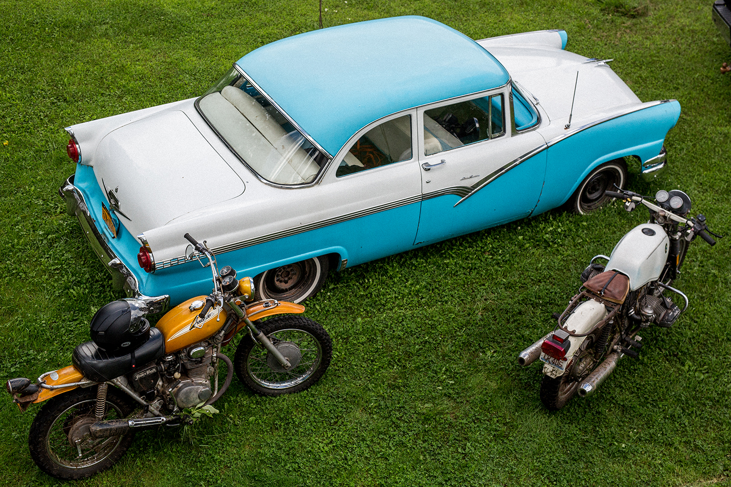 Mark Foster has vintage cars and motorcycles