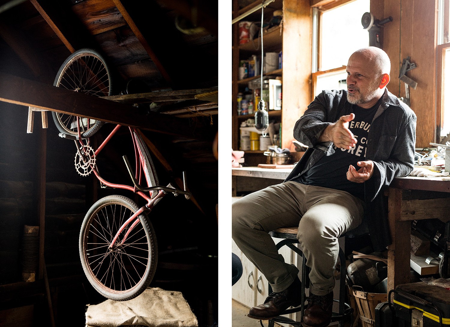 Mark Foster's garage is filled with bicycles
