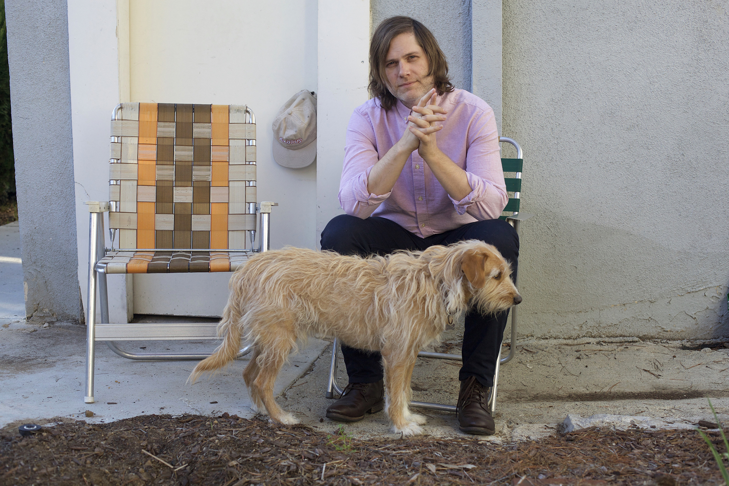 Eric D. Johnson of Fruit Bats with his dog