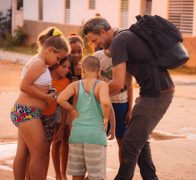 Jon Rose with kids