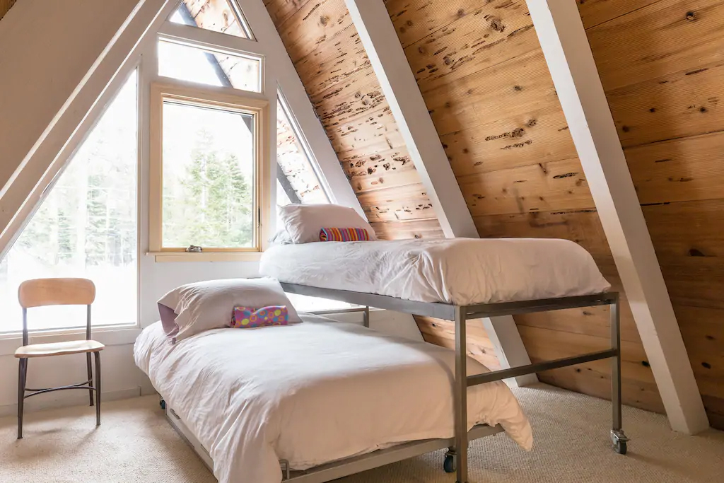 Lake Tahoe A-frame's bedroom