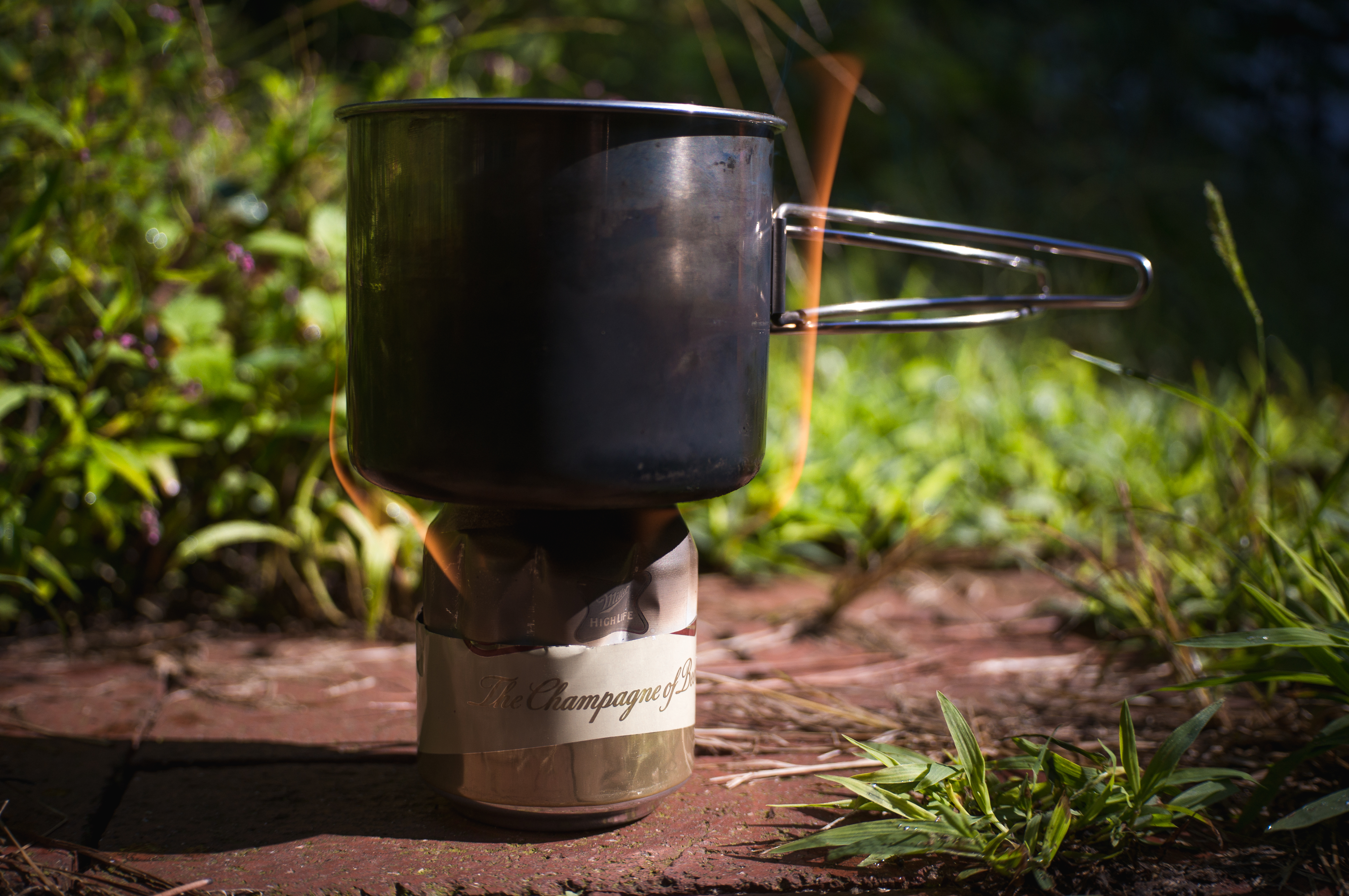 Completed camp stove