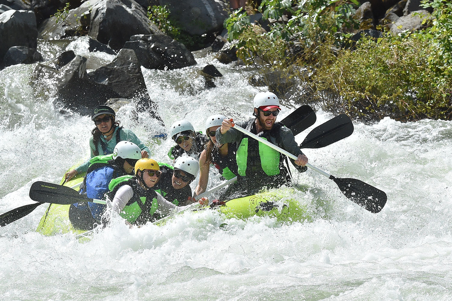 The team goes white-water rafting on the annual Huckberry vacation.
