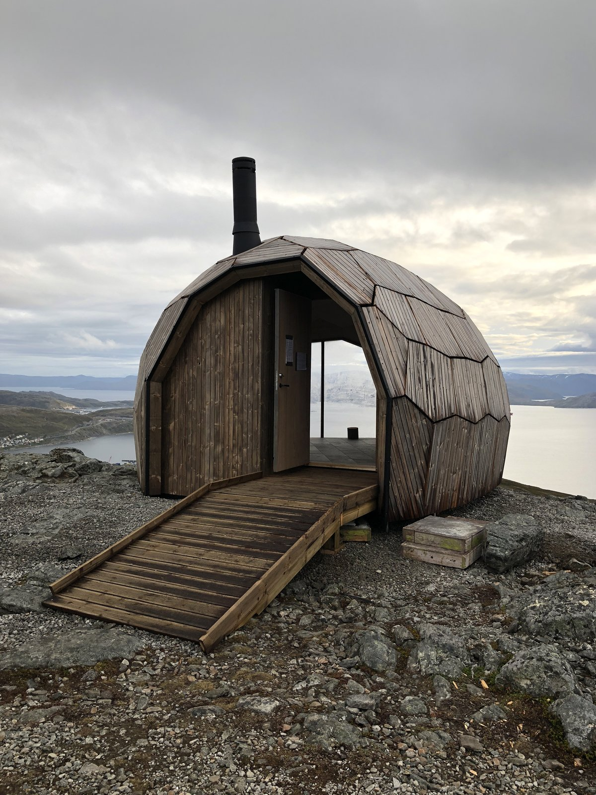 Simply appointed, the Hammerfest Cabin provides the basic need of shelter in an innovative geometric shell.