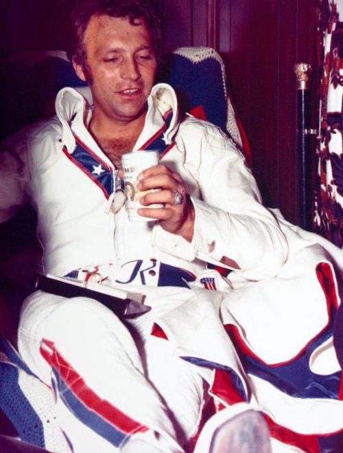 Evel Knievel drinking Olympia