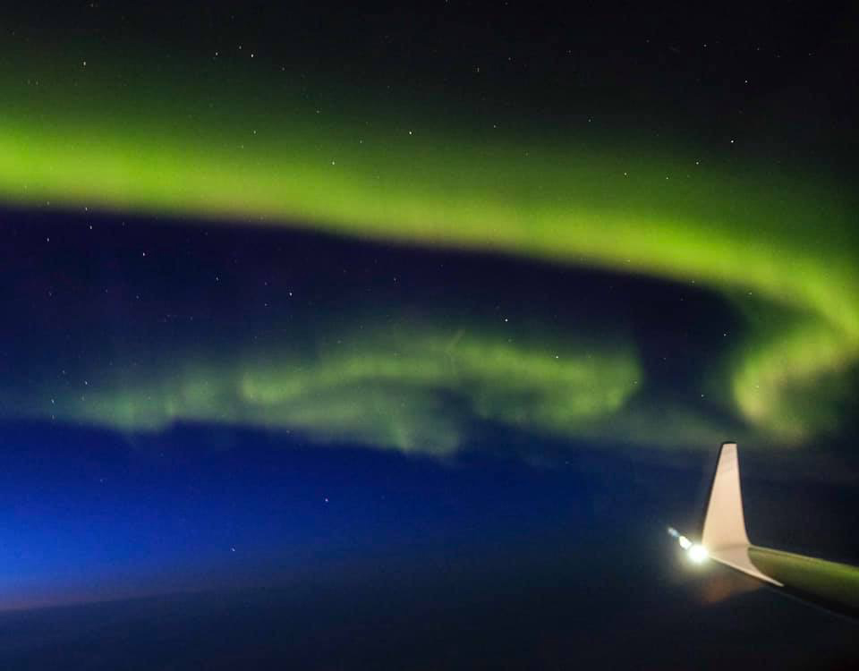 Northern lights from a plane