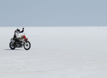Tile salt flats record holder motorcycles distilling