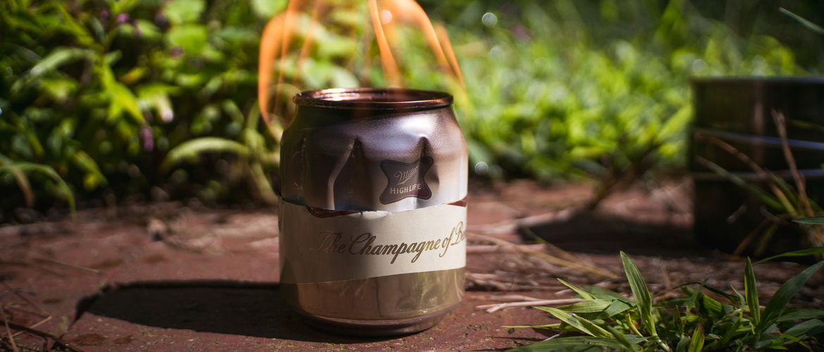 Featured beer can camp stove banner