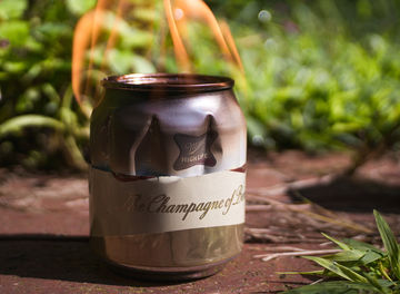 Tile beer can camp stove banner