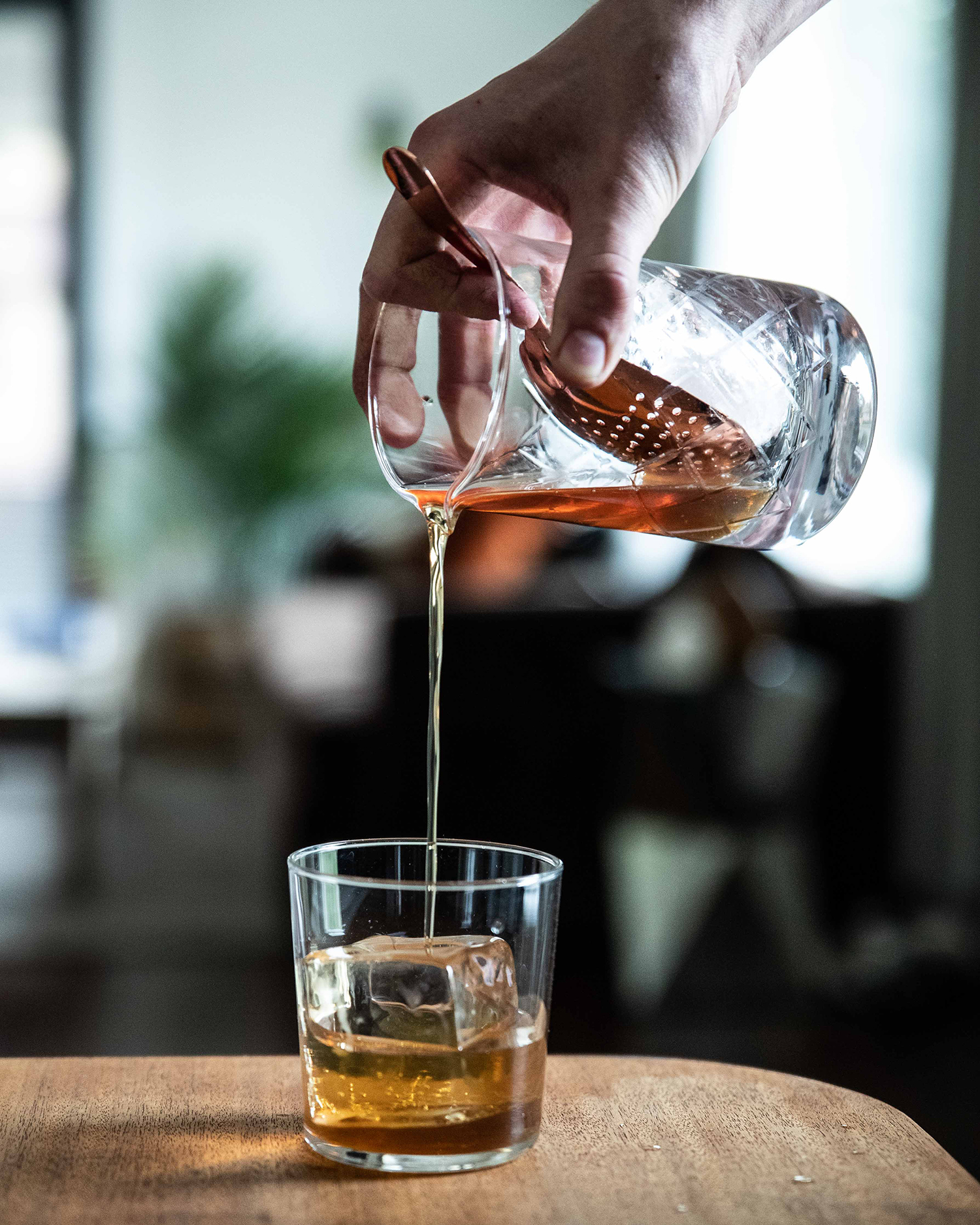 Pouring Bourbon Coffee Old Fashioned
