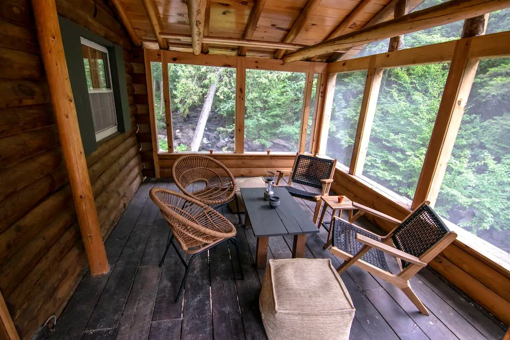 The Cabin's screened-in porch